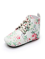 cheap -Girls' Shoes Faux Leather Spring / Fall Comfort / First Walkers / Crib Shoes Boots Lace-up for Baby White / Green / Black / White / Camouflage Color
