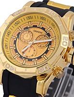 baratos -Homens Relógio de Pulso Chinês Cronógrafo / Criativo / Legal Silicone Banda Luxo / Rígida Preta / Azul / Mostrador Grande