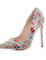abordables -Mujer Zapatos Vaquero Verano Confort Tacones Tacón Stiletto Puntera abierta Hebilla Azul / Marrón Claro