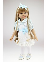 cheap -NPKCOLLECTION Fashion Doll Country Girl 18 inch Full Body Silicone / Vinyl - lifelike, Artificial Implantation Blue Eyes Kid's Girls' Gift