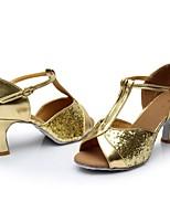 abordables -Mujer Zapatos de Baile Latino Cuero Patentado Sandalia / Tacones Alto Corte Tacón Cubano Personalizables Zapatos de baile Dorado