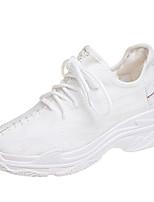 Недорогие -Жен. Обувь Тюль Лето Удобная обувь Кеды На плоской подошве Круглый носок Белый / Черный