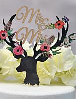 Недорогие -Украшения для торта Классика / Свадьба Аппликация Дерево / Бамбук Свадьба / Годовщина с Двусторонняя выемка 1 pcs Пластмассовая коробка