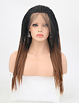 cheap -Synthetic Lace Front Wig Matte Golden Braid Synthetic Hair Heat Resistant Golden Wig Women's Long Lace Front / Yes