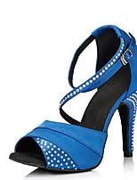 Недорогие -Жен. Обувь для латины Сатин На каблуках Планка Кубинский каблук Персонализируемая Танцевальная обувь Лиловый / Синий
