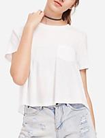 abordables -camiseta de mujer - cuello redondo de color sólido