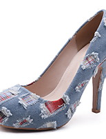 abordables -Femme Chaussures Toile de jean Printemps été Escarpin Basique Chaussures à Talons Talon Aiguille Bout rond Bleu de minuit / Bleu clair / Soirée & Evénement