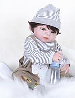 Недорогие -FeelWind Куклы реборн Мальчики 22 дюймовый Полный силикон для тела - как живой, Искусственная имплантация Коричневые глаза Детские Мальчики Подарок