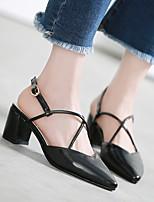 baratos -Mulheres Sapatos Microfibra Primavera Conforto Saltos Salto Robusto Preto / Marron / Amêndoa