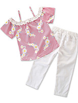 cheap -Toddler Girls' Flamingos Striped Sleeveless Clothing Set