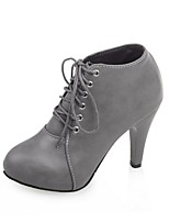 cheap -Women's Shoes PU(Polyurethane) Fall & Winter Fashion Boots Boots Chunky Heel Round Toe Booties / Ankle Boots Black / Beige / Gray