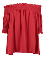 cheap -women's cotton blouse - solid colored boat neck
