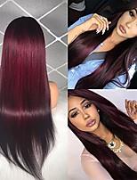 Недорогие -Remy Лента спереди Парик Бразильские волосы Прямой Средняя часть 130% плотность Длинные Жен. Парики из натуральных волос на кружевной
