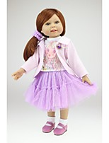 Недорогие -NPKCOLLECTION Модная кукла Девушка из провинции 18 дюймовый Полный силикон для тела / Силикон - Искусственные имплантации Голубые глаза Детские Девочки Подарок