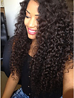 cheap -Virgin Human Hair Full Lace Wig Peruvian Hair Wavy Layered Haircut 130% Density Natural Hairline / 100% Hand Tied Black Women's Long Human Hair Lace Wig
