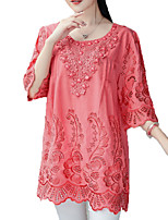 cheap -Women's Chinoiserie Shirt - Solid Colored Beaded