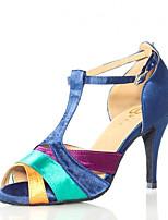 baratos -Mulheres Sapatos de Dança Latina Cetim Sandália Recortes Salto Alto Magro Sapatos de Dança Azul