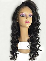 cheap -Virgin Human Hair Lace Front Wig Wig Peruvian Hair Wavy Layered Haircut 130% Density With Baby Hair / Natural Hairline Black Women's Long Human Hair Lace Wig