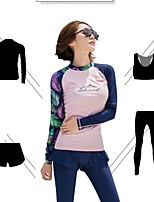 cheap -Women's Rash Guard Dive Skin Suit UV Sun Protection, Ultra Light (UL), Quick Dry Polyester / Spandex Full Body Swimwear Beach Wear Swimwear / Diving Suit / Sun Shirt Floral / Botanical 4-Piece