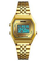baratos -SKMEI Homens Relógio Esportivo / Relógio Militar Japanês Alarme / Calendário / Cronógrafo Aço Inoxidável Banda Casual / Fashion Preta / Prata / Dourada