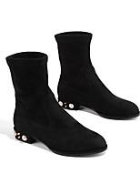 cheap -Women's Shoes Suede Winter Comfort Boots Low Heel Black / Brown / Khaki
