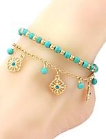 abordables -Turquoise Bracelet de cheville - Fleur Rétro, Mode Bleu Pour Vacances / Sortie / Femme
