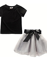 cheap -Kids Girls' Patchwork 3/4 Length Sleeve / Short Sleeve Clothing Set