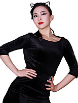 cheap -Latin Dance Leotards Women's Training Corduroy Split Joint 3/4 Length Sleeve Natural Leotard / Onesie