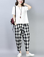 cheap -Women's Active / Chinoiserie Set - Solid Colored / Geometric Pant