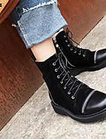 cheap -Women's Shoes Nappa Leather Fall & Winter Comfort / Combat Boots Boots Chunky Heel Closed Toe Mid-Calf Boots Black