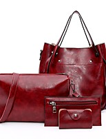cheap -Women's Bags PU(Polyurethane) Bag Set 4 Pieces Purse Set Zipper Red / Gray / Brown