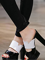 cheap -Women's Shoes Suede / Pigskin Spring & Summer Comfort / Slingback Heels Chunky Heel Open Toe White / Black