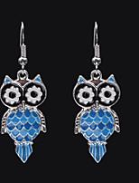 baratos -Mulheres 3D Brincos Compridos - Coruja Simples, Tropical, Romântico Azul Para Presente / Para Noite