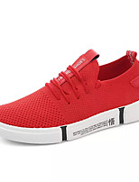 cheap -Men's Canvas / Elastic Fabric Fall Comfort Sneakers White / Black / Red