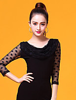 cheap -Ballroom Dance Tops Women's Performance Ice Silk Ruching / Split Joint 3/4 Length Sleeve Top