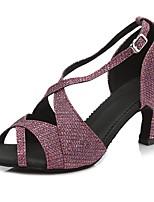 abordables -Femme Chaussures de Salsa Faux Cuir Sandale / Talon Paillette / Boucle Mince haut talon Personnalisables Chaussures de danse Violet