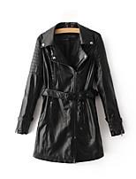 Недорогие -Жен. Праздники Кожаные куртки Рубашечный воротник Однотонный