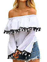 cheap -Women's Basic / Street chic T-shirt - Solid Colored Tassel