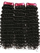 cheap -Brazilian Hair Curly Natural Color Hair Weaves / Human Hair Extensions 3 Bundles 8-28 inch Human Hair Weaves Capless Best Quality / For Black Women / curling Natural Black Human Hair Extensions