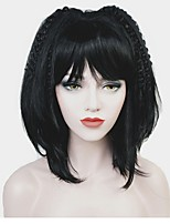 cheap -Synthetic Wig Matte Bob Haircut Synthetic Hair 100% kanekalon hair Black Wig Women's Mid Length Capless / Yes