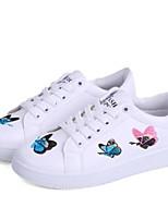 cheap -Women's Shoes PU(Polyurethane) Summer Comfort Sneakers Flat Heel Closed Toe Animal Print White