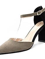 Недорогие -Жен. Обувь Замша / Полиуретан Лето Туфли лодочки Обувь на каблуках На толстом каблуке Заостренный носок Черный / Серый / Красный / Для вечеринки / ужина