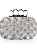 cheap -Women's Bags Polyester Evening Bag Buttons / Crystals Gold / Black / Silver