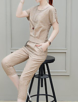 cheap -Women's Basic / Chinoiserie Set - Striped, Split Pant