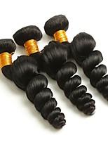Недорогие -3 Связки Бразильские волосы Свободные волны Натуральные волосы Человека ткет Волосы / Пучок волос / Накладки из натуральных волос 8-28 дюймовый Естественный цвет Ткет человеческих волос / Мода