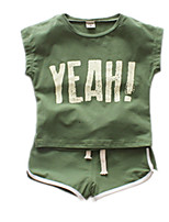 cheap -Baby Unisex Solid Colored Short Sleeve Clothing Set