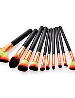 abordables -Paquete de 10 Pinceles de maquillaje Profesional Maquillaje Fibra de nilón Profesional / Confortable Madera / Bambú