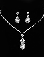 cheap -Women's Cubic Zirconia Long Jewelry Set - Sterling Silver Drop, Flower Classic, Vintage, Elegant Include Drop Earrings / Choker Necklace Silver For Wedding / Engagement / Ceremony