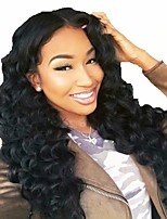cheap -Remy Human Hair Full Lace Wig Brazilian Hair Wavy Layered Haircut 130% Density With Baby Hair / Natural Hairline / 100% Hand Tied Black Women's Long Human Hair Lace Wig