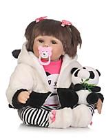 Недорогие -NPKCOLLECTION Куклы реборн Девочки 24 дюймовый Искусственная имплантация Коричневые глаза Детские Девочки Подарок